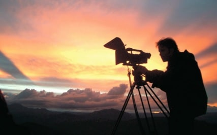 Kameramann in der Abendsonne