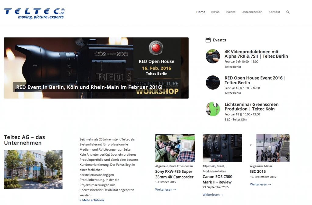 Homepage von Teltec