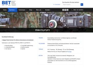 Screenshot der Seminarseite