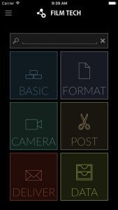 Film Tech App Startbildschirm