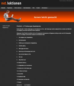 Screenshot des Filmlicht-Seminars bei netlektionen.de