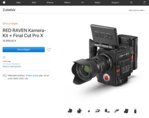 Screenshot des Apple Stores mit der RED Raven