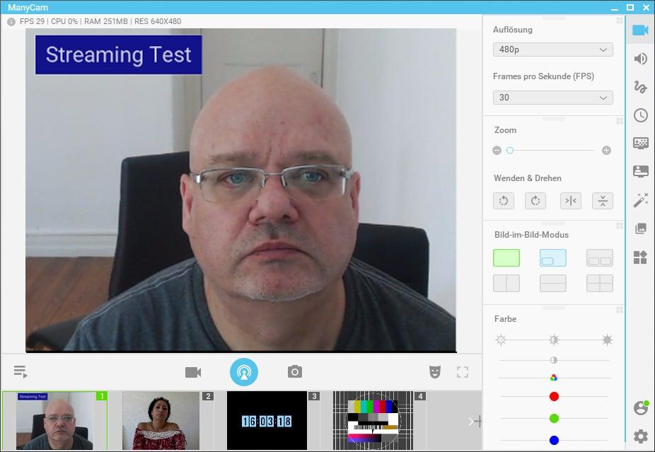 Der Clou bei ManyCam: Sie fungiert selbst als virtuelle Kamera und kann so in bestehende Live-Softwares eingebunden werden.