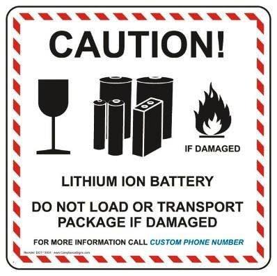 Warnhinweis auf Lithium-Ionen-Akkus.