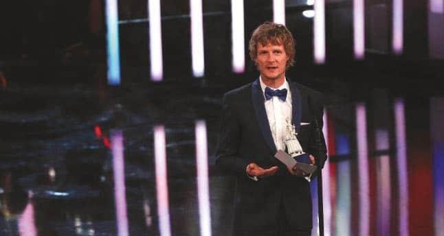 Matthias Fleischer mit seinem zweiten Bayerischen Filmpreis.