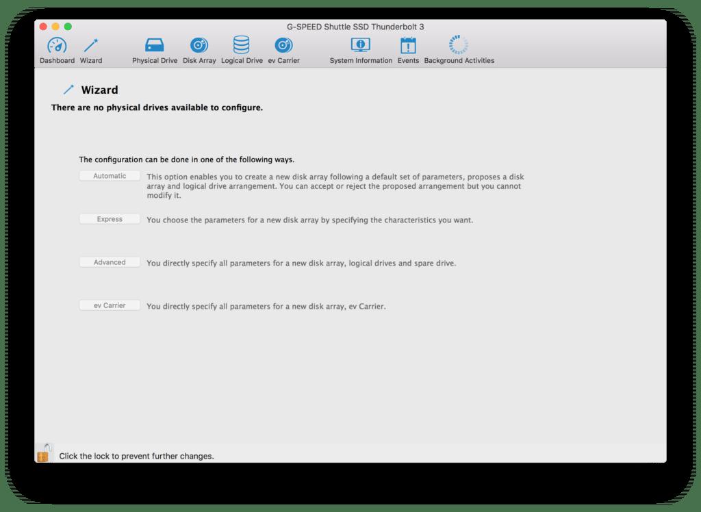 verwirrt das Interface mit mangelnden Auswahlmöglichkeiten bei bereits angeschlossenem und als RAID partitioniertem Physical Drive.